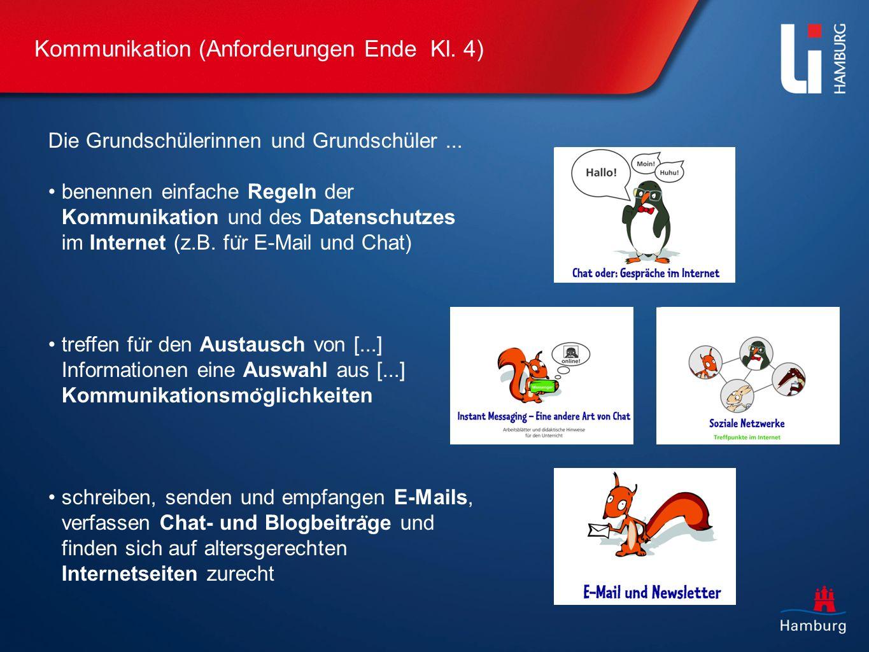 Kommunikation (Anforderungen Ende Kl. 4) Die Grundschülerinnen und Grundschüler... benennen einfache Regeln der Kommunikation und des Datenschutzes im