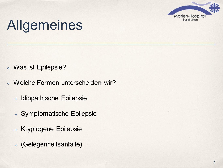5 Allgemeines Was ist Epilepsie? Welche Formen unterscheiden wir? Idiopathische Epilepsie Symptomatische Epilepsie Kryptogene Epilepsie (Gelegenheitsa