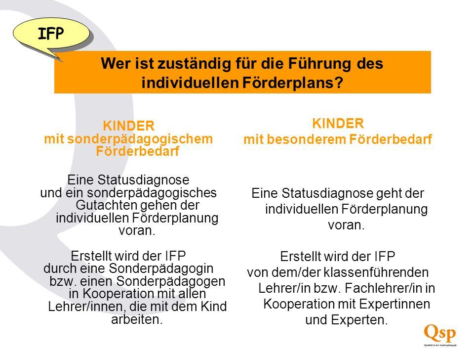 Wer ist zuständig für die Führung des individuellen Förderplans? IFP KINDER mit sonderpädagogischem Förderbedarf Eine Statusdiagnose und ein sonderpäd