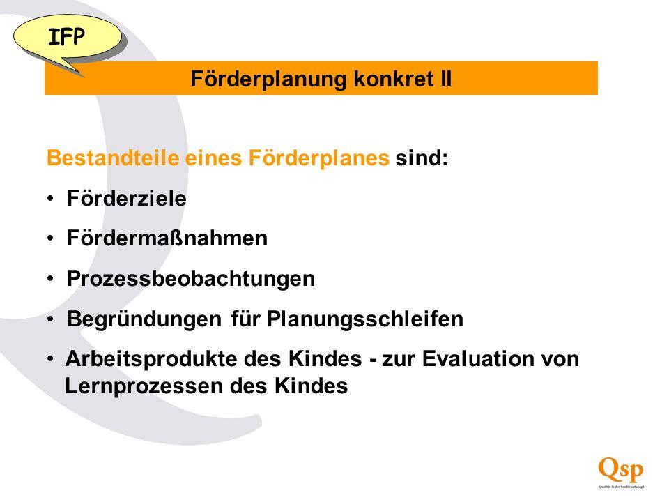Förderplanung konkret II Bestandteile eines Förderplanes sind: Förderziele Fördermaßnahmen Prozessbeobachtungen Begründungen für Planungsschleifen Arb