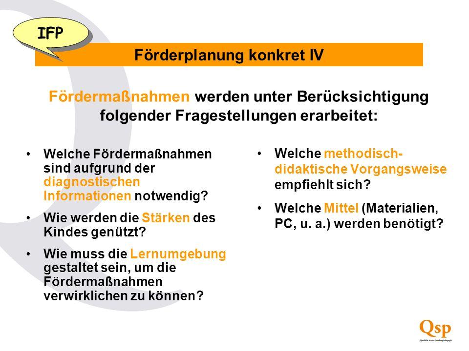 Förderplanung konkret IV Fördermaßnahmen werden unter Berücksichtigung folgender Fragestellungen erarbeitet: Welche Fördermaßnahmen sind aufgrund der