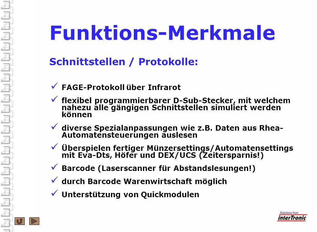 Funktions-Merkmale Schnittstellen / Protokolle: FAGE-Protokoll über Infrarot flexibel programmierbarer D-Sub-Stecker, mit welchem nahezu alle gängigen