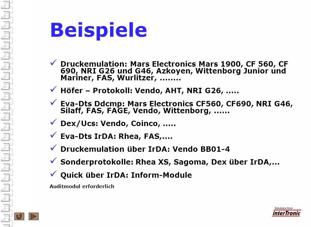 Beispiele Druckemulation: Mars Electronics Mars 1900, CF 560, CF 690, NRI G26 und G46, Azkoyen, Wittenborg Junior und Mariner, FAS, Wurlitzer,........