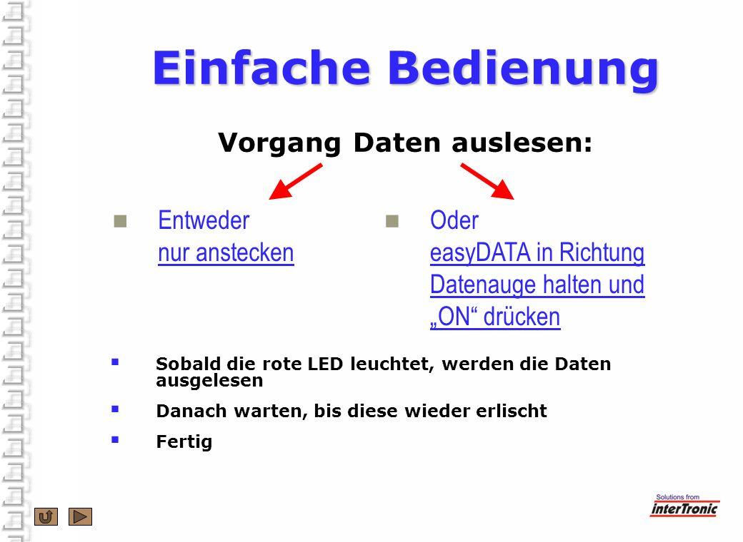 Einfache Bedienung Einfache Bedienung Vorgang Daten auslesen: Entweder nur anstecken Oder easyDATA in Richtung Datenauge halten und ON drücken Sobald