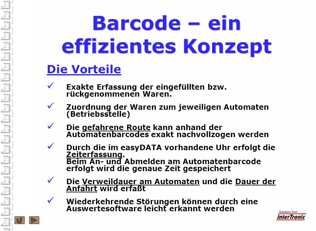 Barcode – ein effizientes Konzept Die Vorteile Exakte Erfassung der eingefüllten bzw. rückgenommenen Waren. Zuordnung der Waren zum jeweiligen Automat