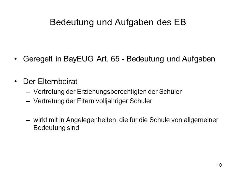 10 Bedeutung und Aufgaben des EB Geregelt in BayEUG Art. 65 - Bedeutung und Aufgaben Der Elternbeirat –Vertretung der Erziehungsberechtigten der Schül