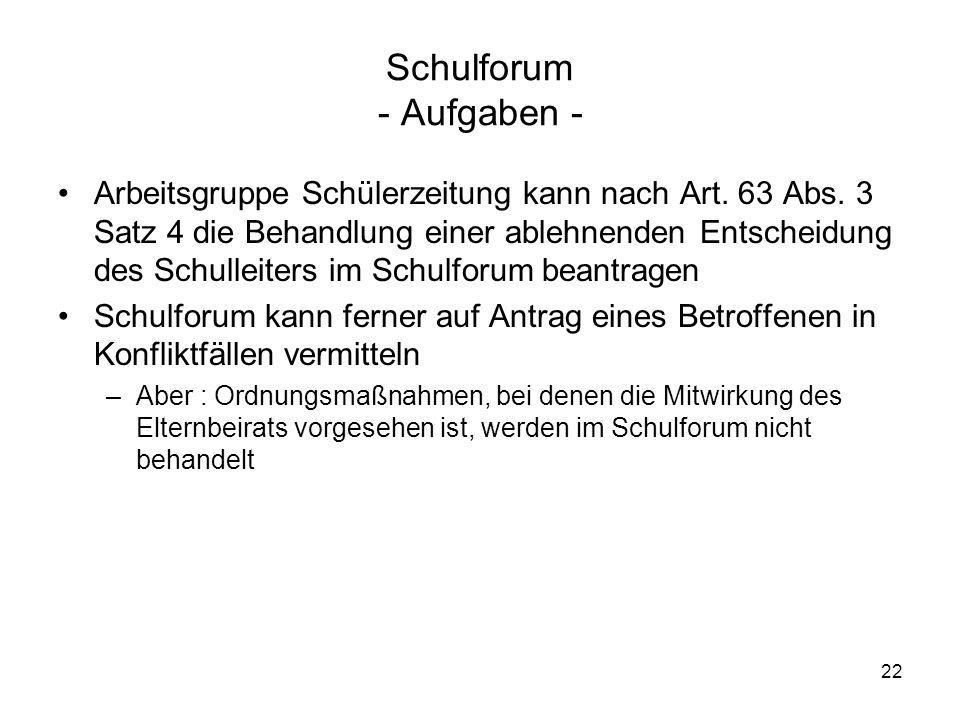 22 Schulforum - Aufgaben - Arbeitsgruppe Schülerzeitung kann nach Art. 63 Abs. 3 Satz 4 die Behandlung einer ablehnenden Entscheidung des Schulleiters