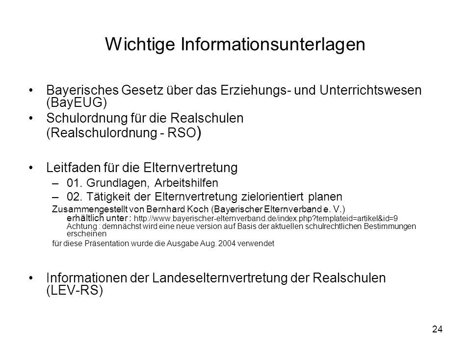 24 Wichtige Informationsunterlagen Bayerisches Gesetz über das Erziehungs- und Unterrichtswesen (BayEUG) Schulordnung für die Realschulen (Realschulor