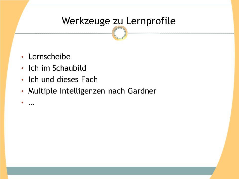 Werkzeuge zu Lernprofile Lernscheibe Ich im Schaubild Ich und dieses Fach Multiple Intelligenzen nach Gardner …