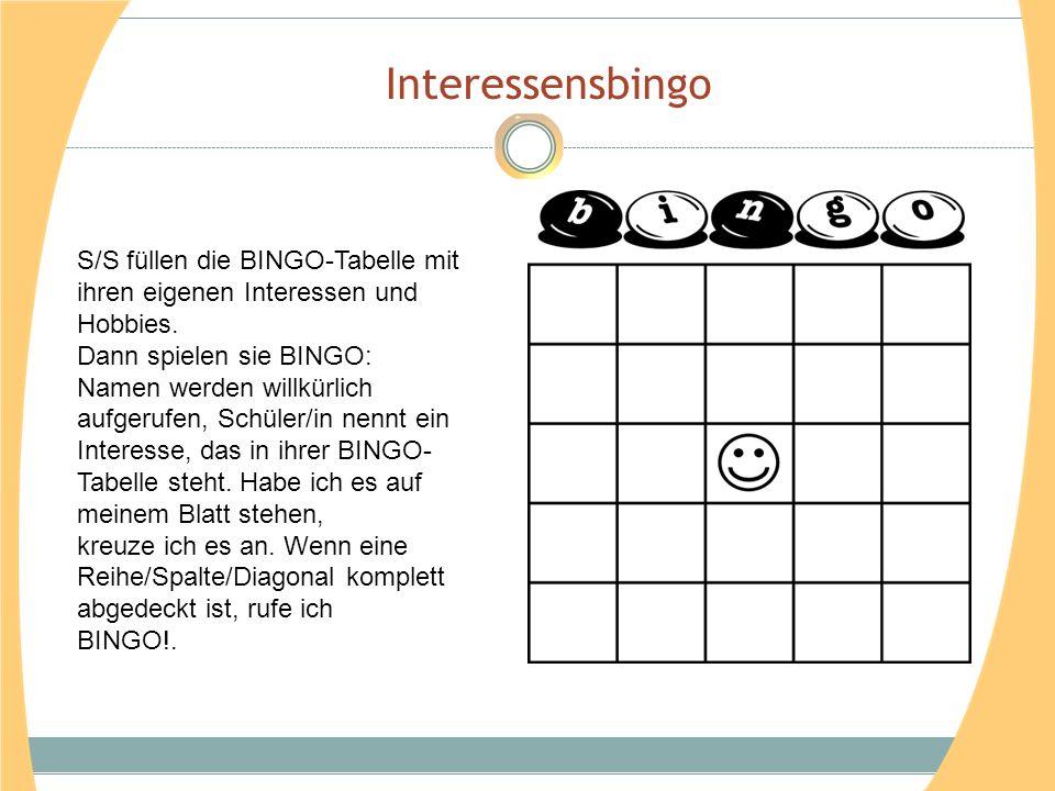 Interessensbingo S/S füllen die BINGO-Tabelle mit ihren eigenen Interessen und Hobbies. Dann spielen sie BINGO: Namen werden willkürlich aufgerufen, S