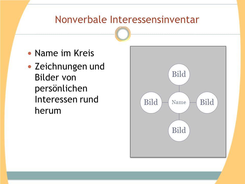 Nonverbale Interessensinventar Name im Kreis Zeichnungen und Bilder von persönlichen Interessen rund herum