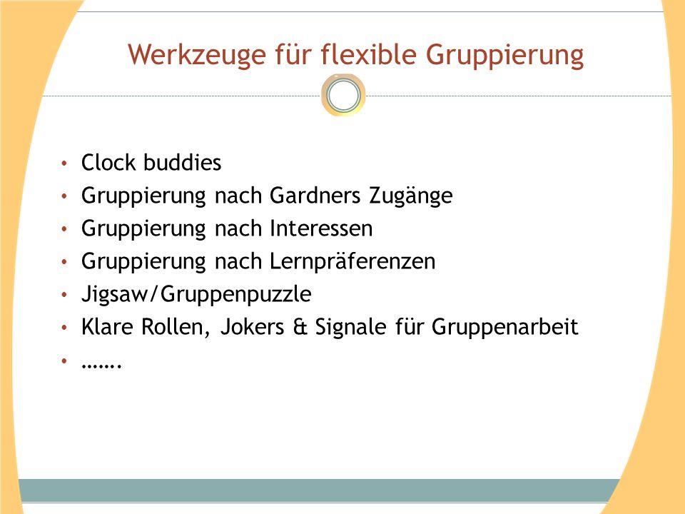 Werkzeuge für flexible Gruppierung Clock buddies Gruppierung nach Gardners Zugänge Gruppierung nach Interessen Gruppierung nach Lernpräferenzen Jigsaw