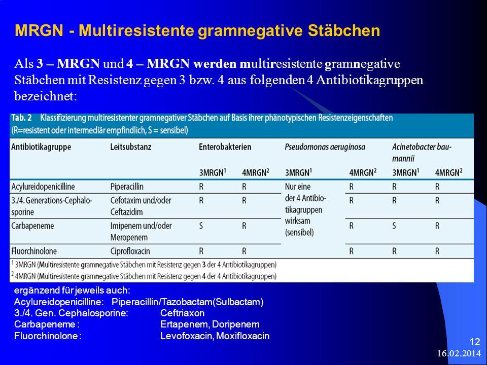 16.02.2014 12 MRGN - Multiresistente gramnegative Stäbchen Als 3 – MRGN und 4 – MRGN werden multiresistente gramnegative Stäbchen mit Resistenz gegen