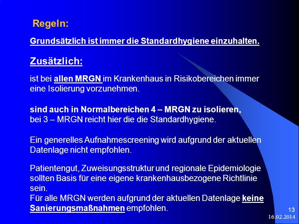 16.02.2014 13 sind auch in Normalbereichen 4 – MRGN zu isolieren, bei 3 – MRGN reicht hier die die Standardhygiene. Ein generelles Aufnahmescreening w