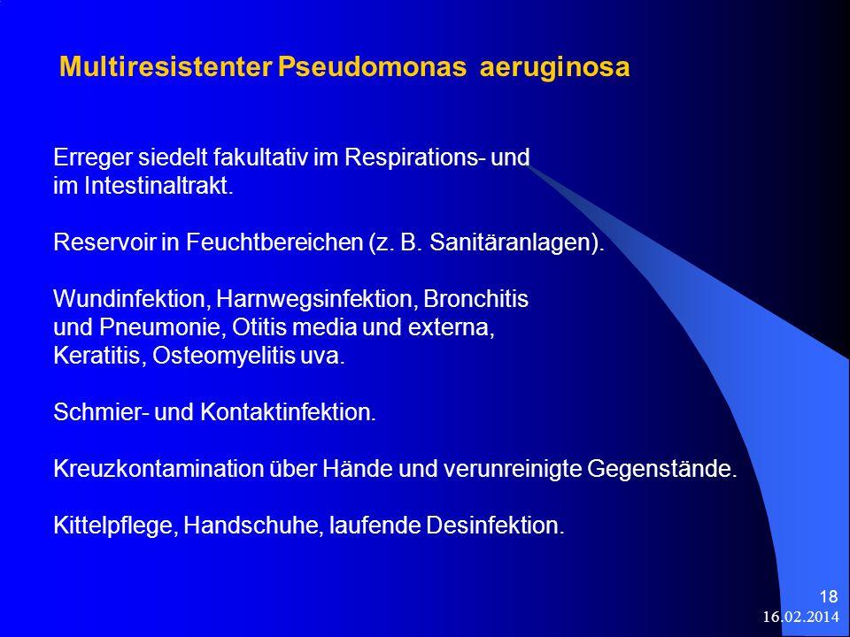 16.02.2014 18 Erreger siedelt fakultativ im Respirations- und im Intestinaltrakt. Reservoir in Feuchtbereichen (z. B. Sanitäranlagen). Wundinfektion,