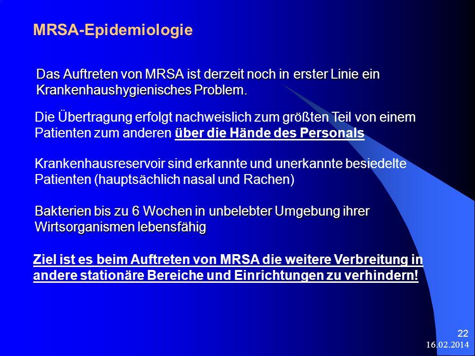 16.02.2014 22 Das Auftreten von MRSA ist derzeit noch in erster Linie ein Krankenhaushygienisches Problem. MRSA-Epidemiologie Ziel ist es beim Auftret