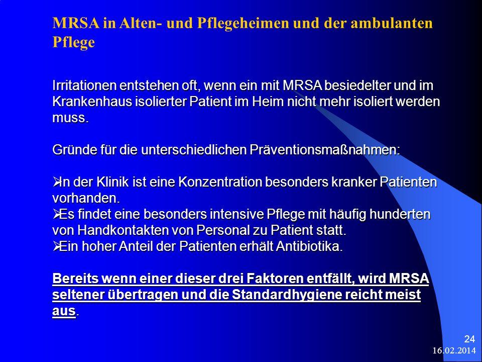 16.02.2014 24 Irritationen entstehen oft, wenn ein mit MRSA besiedelter und im Krankenhaus isolierter Patient im Heim nicht mehr isoliert werden muss.