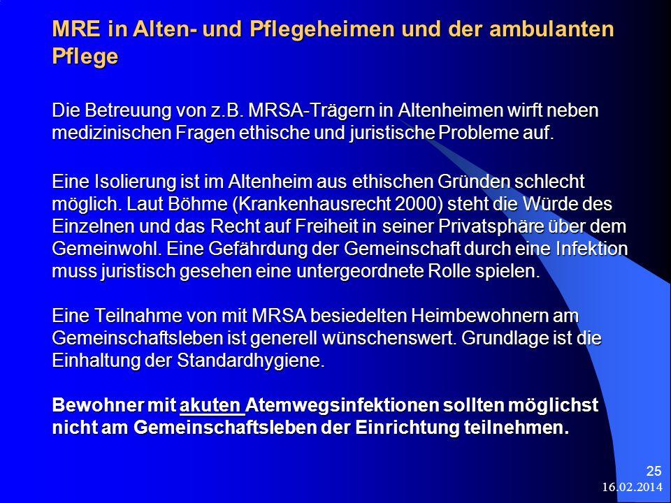 16.02.2014 25 Die Betreuung von z.B. MRSA-Trägern in Altenheimen wirft neben medizinischen Fragen ethische und juristische Probleme auf. Eine Isolieru