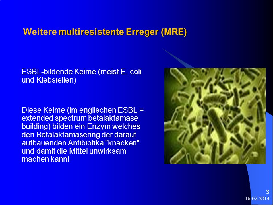 multiresistente Erreger (MRE) Weitere multiresistente Erreger (MRE) ESBL-bildende Keime (meist E. coli und Klebsiellen) Diese Keime (im englischen ESB
