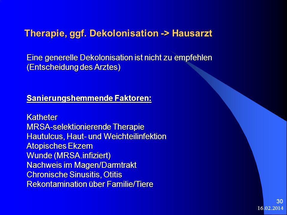 16.02.2014 30 Therapie, ggf. Dekolonisation -> Hausarzt Sanierungshemmende Faktoren: Katheter MRSA-selektionierende Therapie Hautulcus, Haut- und Weic