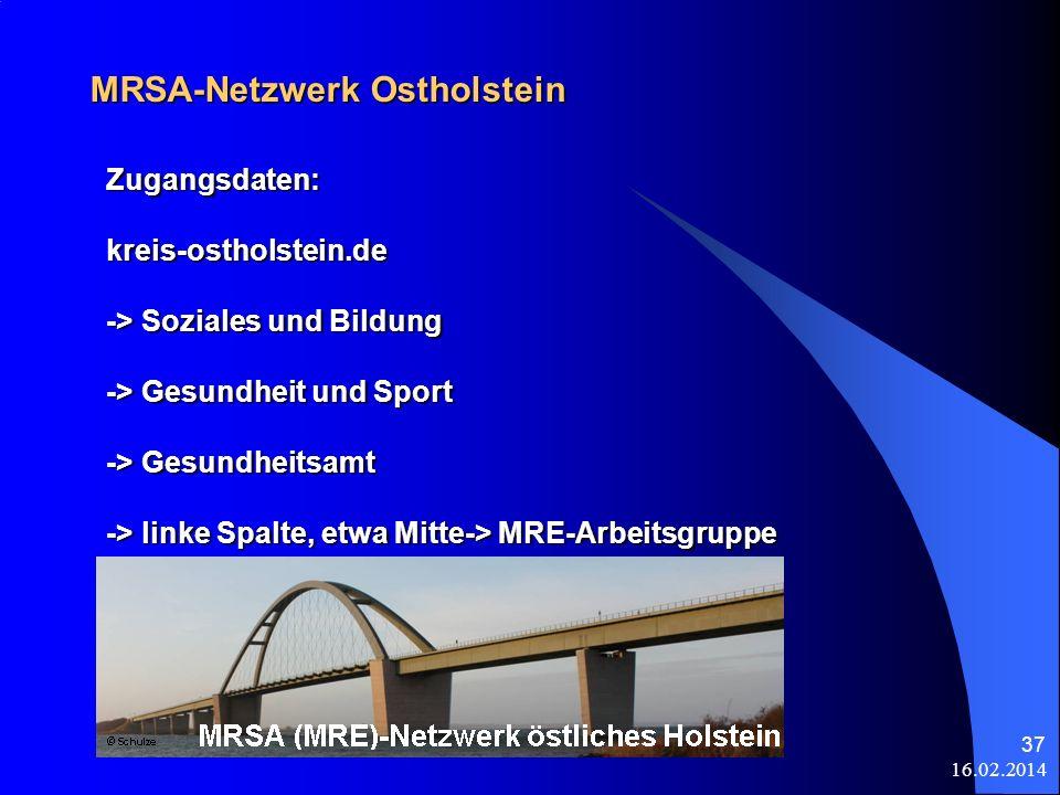 16.02.2014 37 MRSA-Netzwerk Ostholstein Zugangsdaten:kreis-ostholstein.de -> Soziales und Bildung -> Gesundheit und Sport -> Gesundheitsamt -> linke S