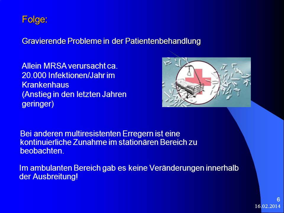 Folge: Gravierende Probleme in der Patientenbehandlung Im ambulanten Bereich gab es keine Veränderungen innerhalb der Ausbreitung! 16.02.2014 6 Bei an