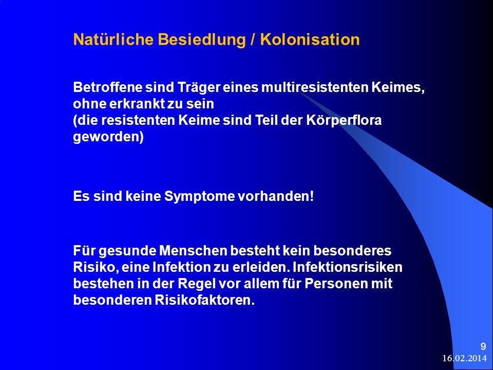 16.02.2014 9 Natürliche Besiedlung / Kolonisation Betroffene sind Träger eines multiresistenten Keimes, ohne erkrankt zu sein (die resistenten Keime s