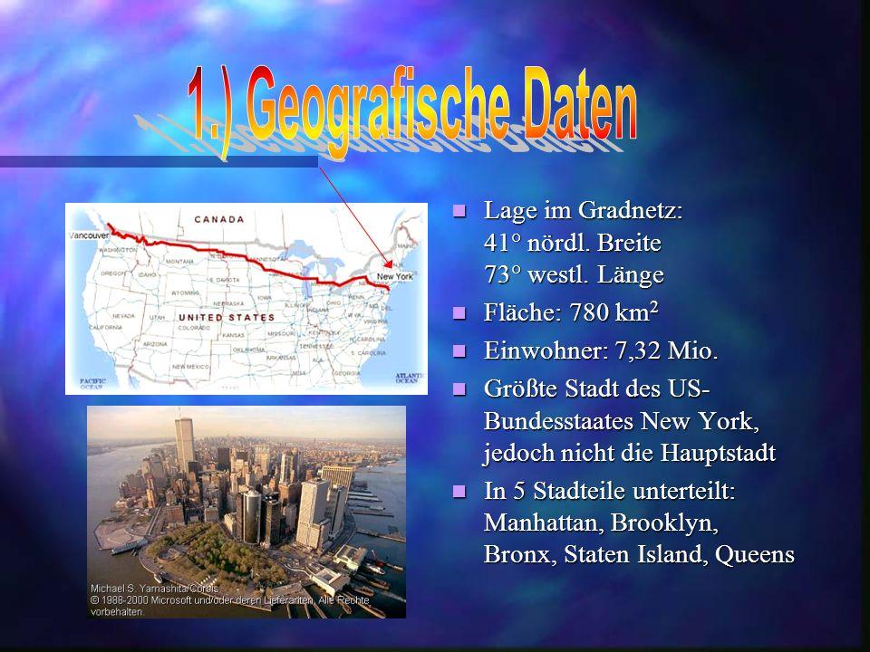Lage im Gradnetz: 41° nördl.Breite 73° westl. Länge Fläche: 780 km 2 Einwohner: 7,32 Mio.