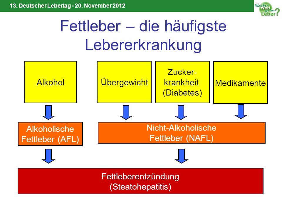 13. Deutscher Lebertag - 20. November 2012 Fettleber – die häufigste Lebererkrankung Alkohol Alkoholische Fettleber (AFL) Übergewicht Nicht-Alkoholisc