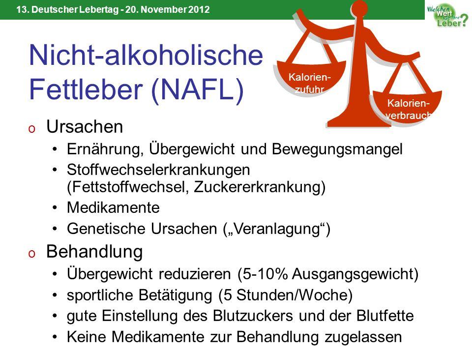 13. Deutscher Lebertag - 20. November 2012 Nicht-alkoholische Fettleber (NAFL) o Ursachen Ernährung, Übergewicht und Bewegungsmangel Stoffwechselerkra