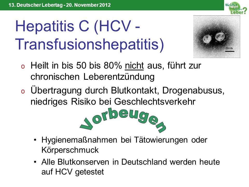 13. Deutscher Lebertag - 20. November 2012 Hepatitis C (HCV - Transfusionshepatitis) o Heilt in bis 50 bis 80% nicht aus, führt zur chronischen Lebere