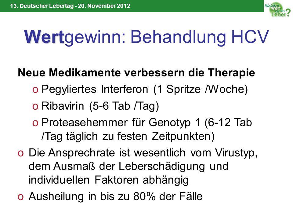 13. Deutscher Lebertag - 20. November 2012 Wert Wertgewinn: Behandlung HCV Neue Medikamente verbessern die Therapie oPegyliertes Interferon (1 Spritze