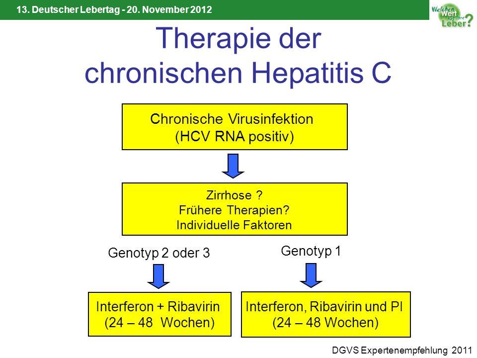 13. Deutscher Lebertag - 20. November 2012 Therapie der chronischen Hepatitis C Chronische Virusinfektion (HCV RNA positiv) Zirrhose ? Frühere Therapi