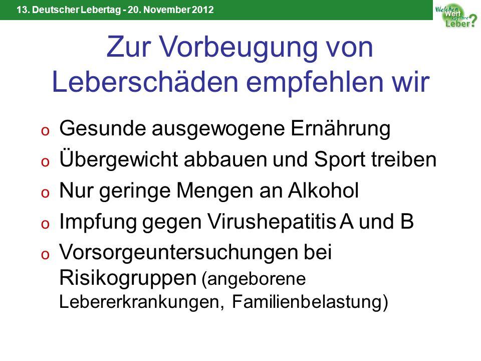 13. Deutscher Lebertag - 20. November 2012 Zur Vorbeugung von Leberschäden empfehlen wir o Gesunde ausgewogene Ernährung o Übergewicht abbauen und Spo