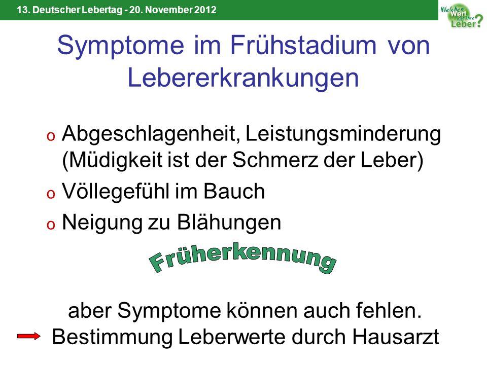 13. Deutscher Lebertag - 20. November 2012 Symptome im Frühstadium von Lebererkrankungen o Abgeschlagenheit, Leistungsminderung (Müdigkeit ist der Sch