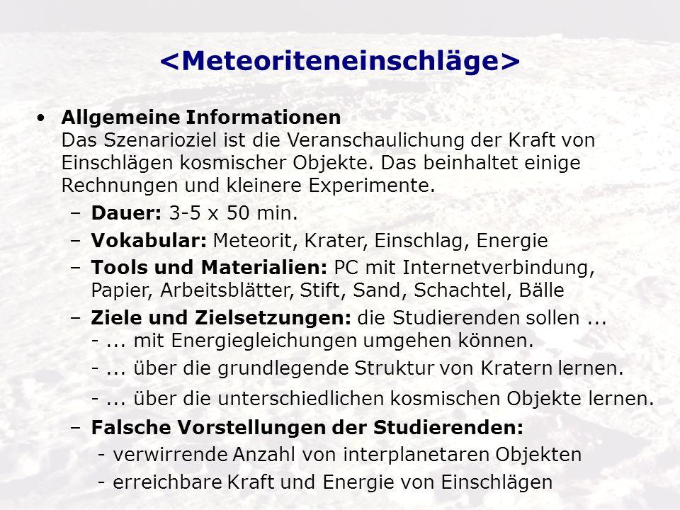 Ausbildungsphase 1: Anregung –Präsentation: Motivation durch Emotion (Bilder von Einschlagskratern) [3] Mars Express Beobachtung: Marskrater mit Eis[4] Chicxulub-Krater in Mexiko