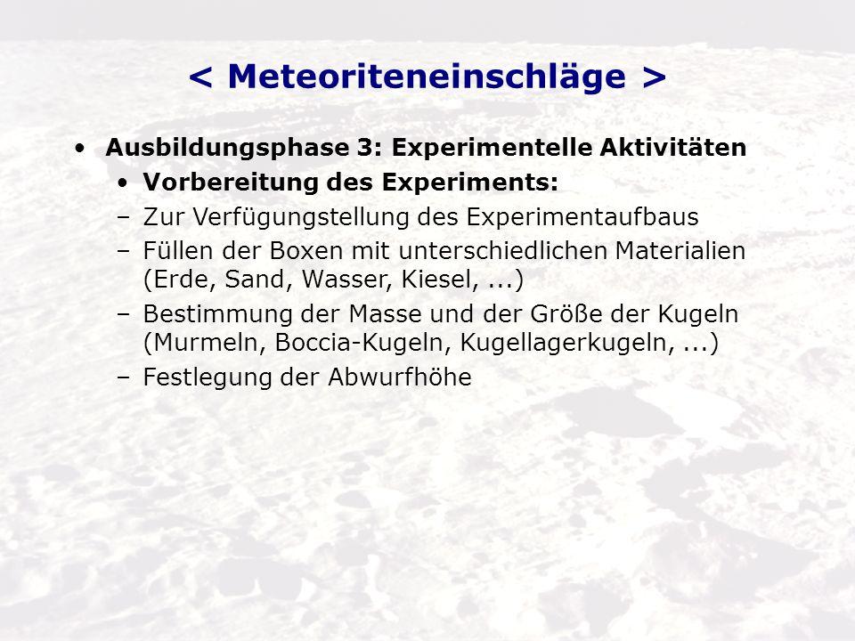 Ausbildungsphase 3: Experimentelle Aktivitäten Durchführung der Messung: –Einschlagexperimente mit verschiedenen Arten von Oberflächen und unterschiedlichen fallenden Objekten, um unterschiedliche Kraterformen zu erzeugen.