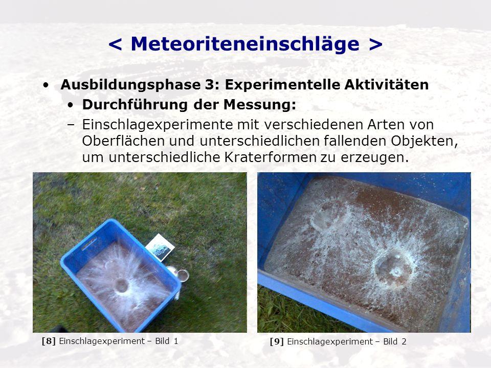 Ausbildungsphase 4: Abstraktion von Einschlageigenschaften –Energiegleichungen: Rechnungen mit kinetischer und potenzieller Energie von Einschlägen: E = m*v^2 + m*g*h Wie viel Erde kann ausgeworfen werden, um einen Krater zu erzeugen.