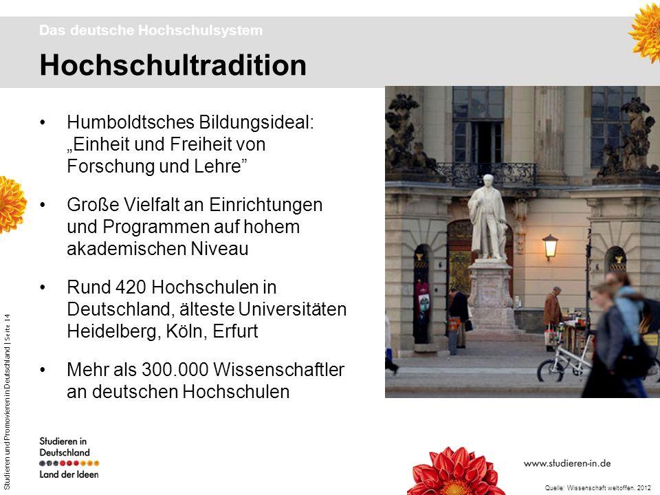 Studieren und Promovieren in Deutschland | Seite 14 Hochschultradition Das deutsche Hochschulsystem Humboldtsches Bildungsideal: Einheit und Freiheit