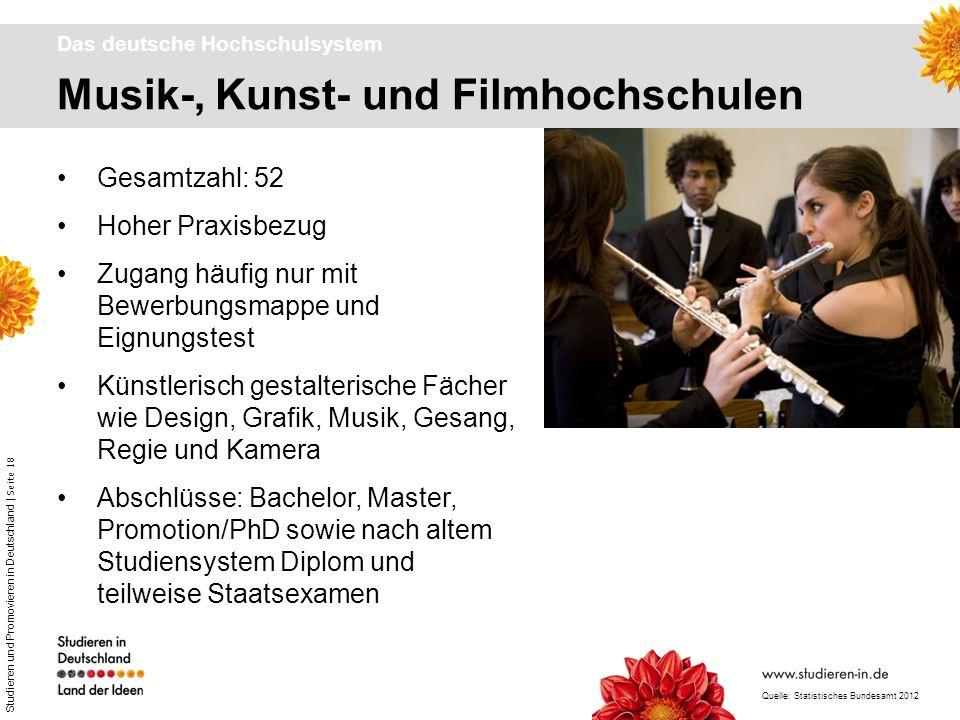 Studieren und Promovieren in Deutschland | Seite 18 Musik-, Kunst- und Filmhochschulen Das deutsche Hochschulsystem Gesamtzahl: 52 Hoher Praxisbezug Z