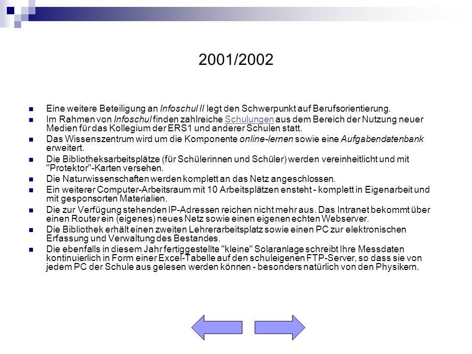 2001/2002 Eine weitere Beteiligung an Infoschul II legt den Schwerpunkt auf Berufsorientierung.
