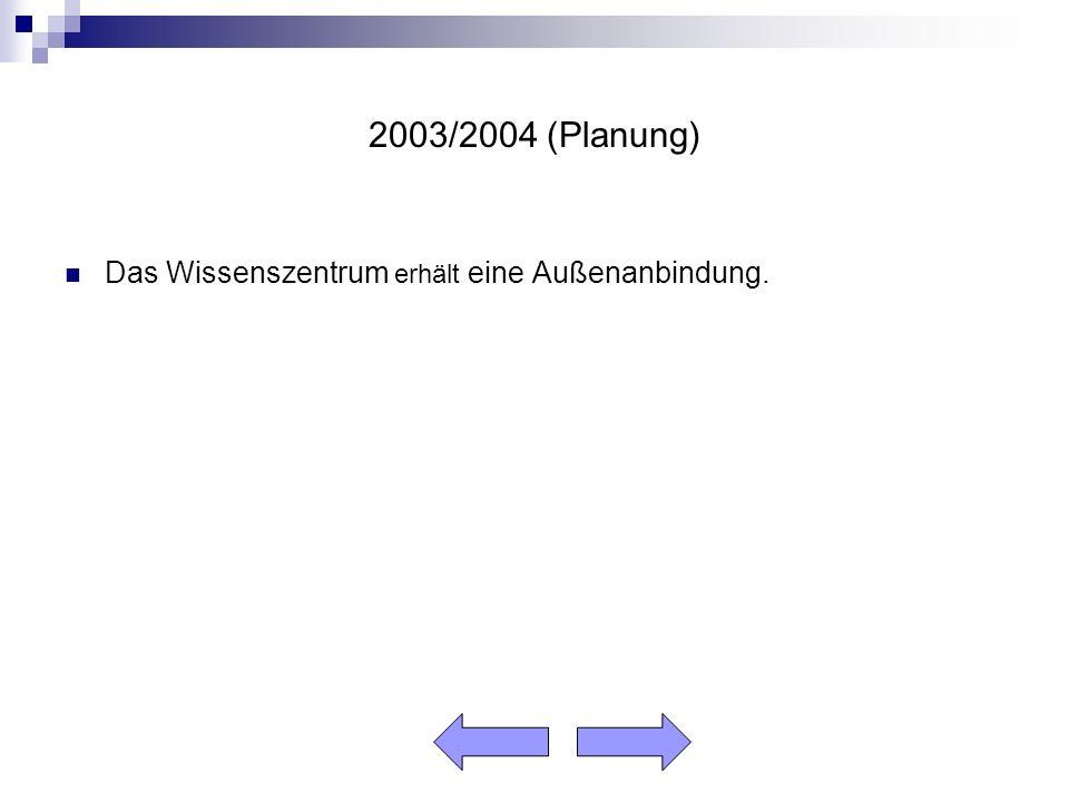 2003/2004 (Planung) Das Wissenszentrum erhält eine Außenanbindung.