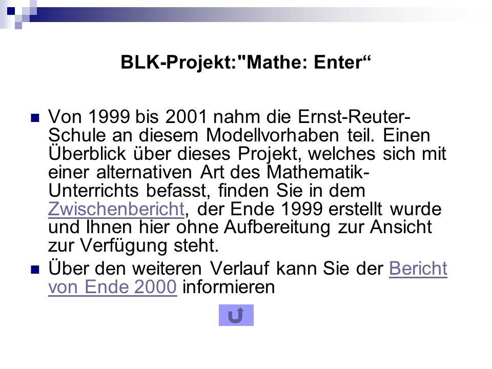 BLK-Projekt: Mathe: Enter Von 1999 bis 2001 nahm die Ernst-Reuter- Schule an diesem Modellvorhaben teil.