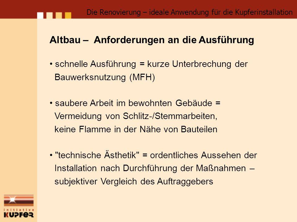 Die Renovierung – ideale Anwendung für die Kupferinstallation Altbau – Anforderungen an die Ausführung schnelle Ausführung = kurze Unterbrechung der B