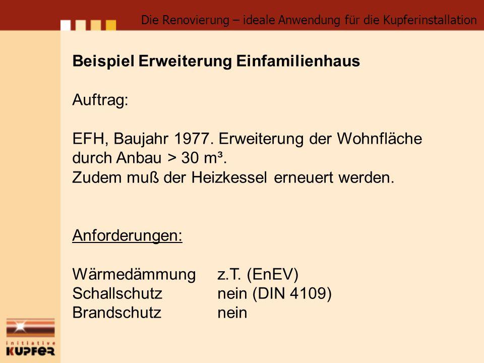 Beispiel Erweiterung Einfamilienhaus Auftrag: EFH, Baujahr 1977. Erweiterung der Wohnfläche durch Anbau > 30 m³. Zudem muß der Heizkessel erneuert wer