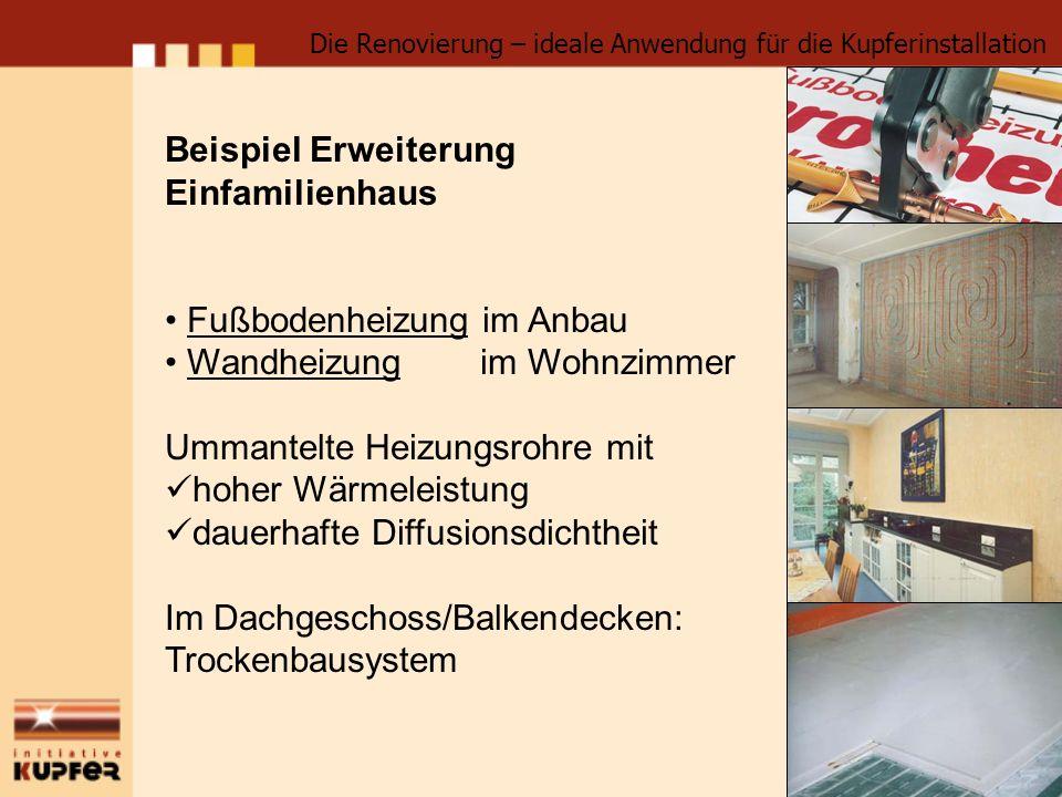Beispiel Erweiterung Einfamilienhaus Fußbodenheizung im Anbau Wandheizung im Wohnzimmer Ummantelte Heizungsrohre mit hoher Wärmeleistung dauerhafte Di