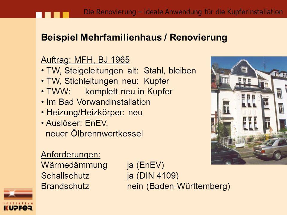 Beispiel Mehrfamilienhaus / Renovierung Auftrag: MFH, BJ 1965 TW, Steigeleitungen alt: Stahl, bleiben TW, Stichleitungen neu: Kupfer TWW: komplett neu