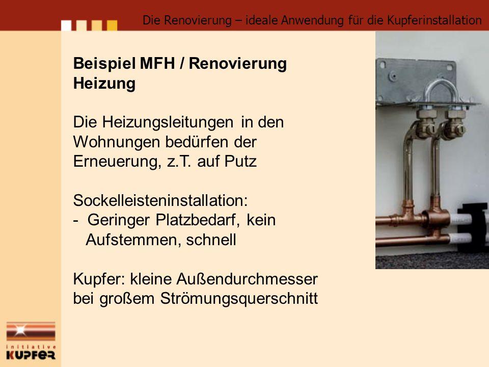 Beispiel MFH / Renovierung Heizung Die Heizungsleitungen in den Wohnungen bedürfen der Erneuerung, z.T. auf Putz Sockelleisteninstallation: - Geringer