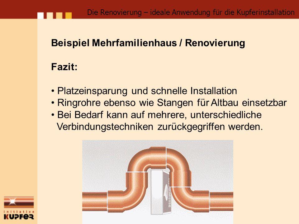Beispiel Mehrfamilienhaus / Renovierung Fazit: Platzeinsparung und schnelle Installation Ringrohre ebenso wie Stangen für Altbau einsetzbar Bei Bedarf kann auf mehrere, unterschiedliche Verbindungstechniken zurückgegriffen werden.