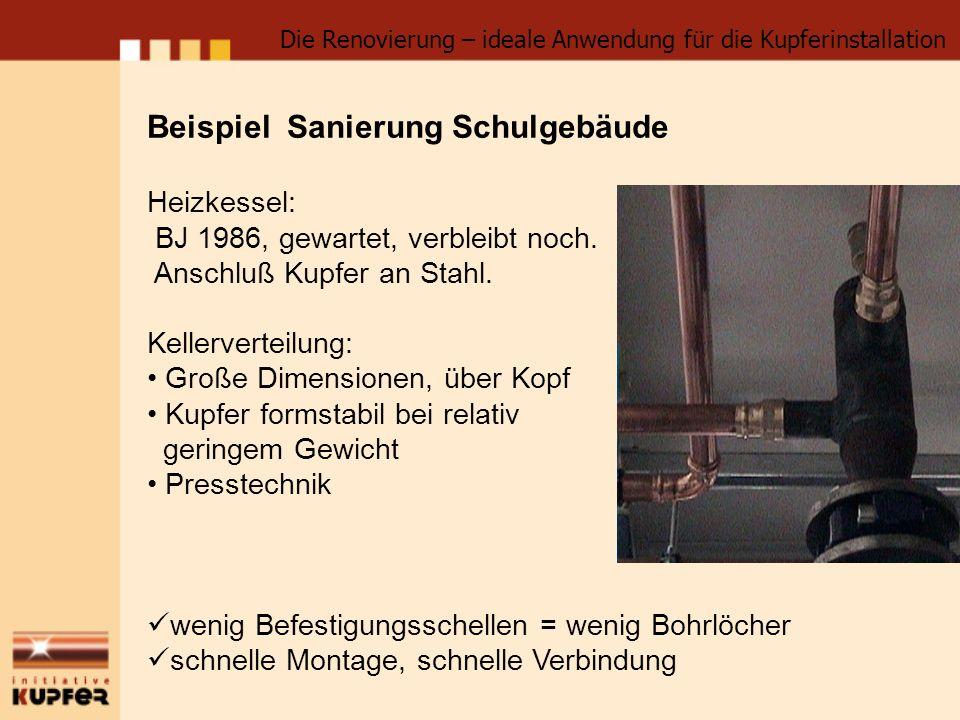 Beispiel Sanierung Schulgebäude Heizkessel: BJ 1986, gewartet, verbleibt noch. Anschluß Kupfer an Stahl. Kellerverteilung: Große Dimensionen, über Kop